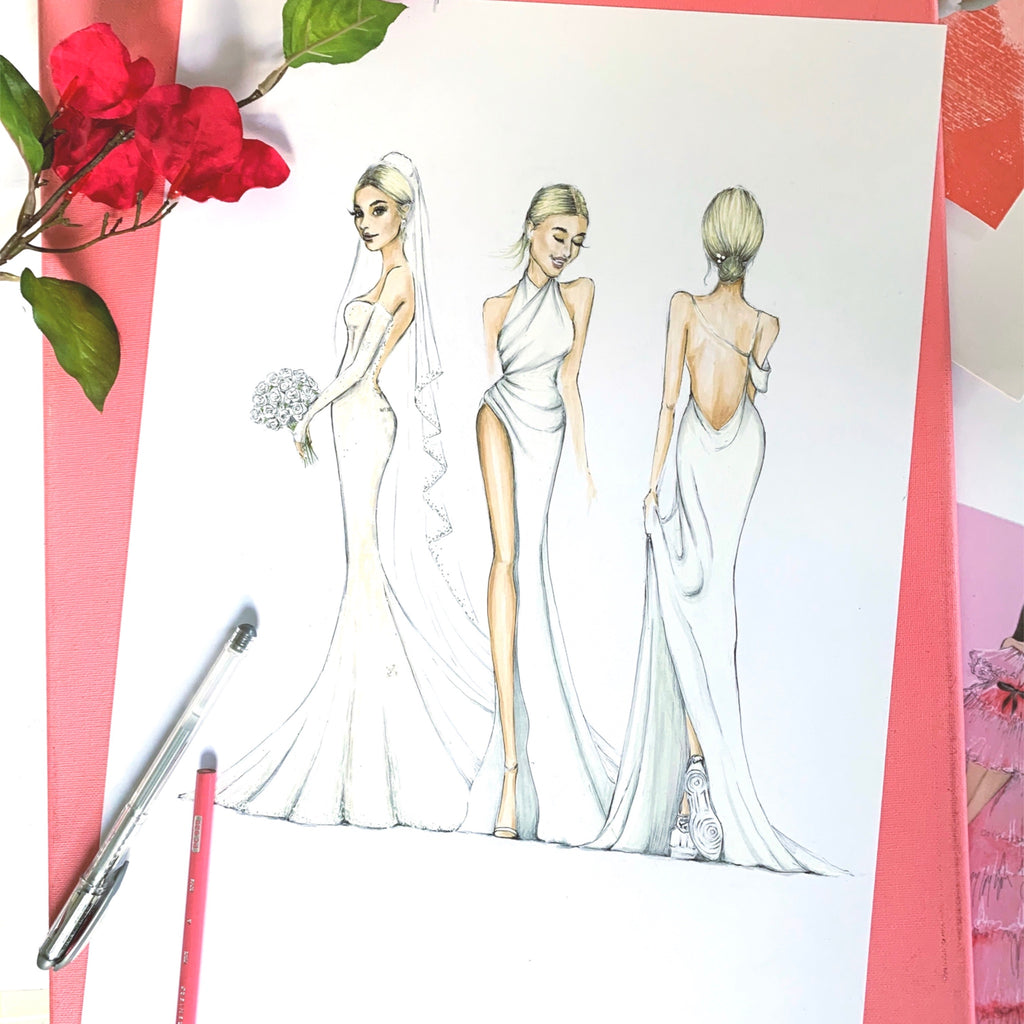 Sarah Darby fashion illustration Hailey Bieber wedding gown