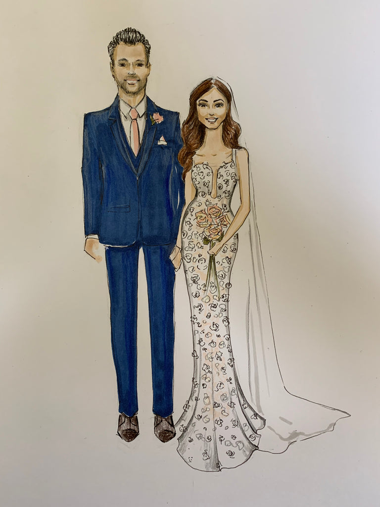 Wedding couple illustration | Bridal illustration | Sarah Darby