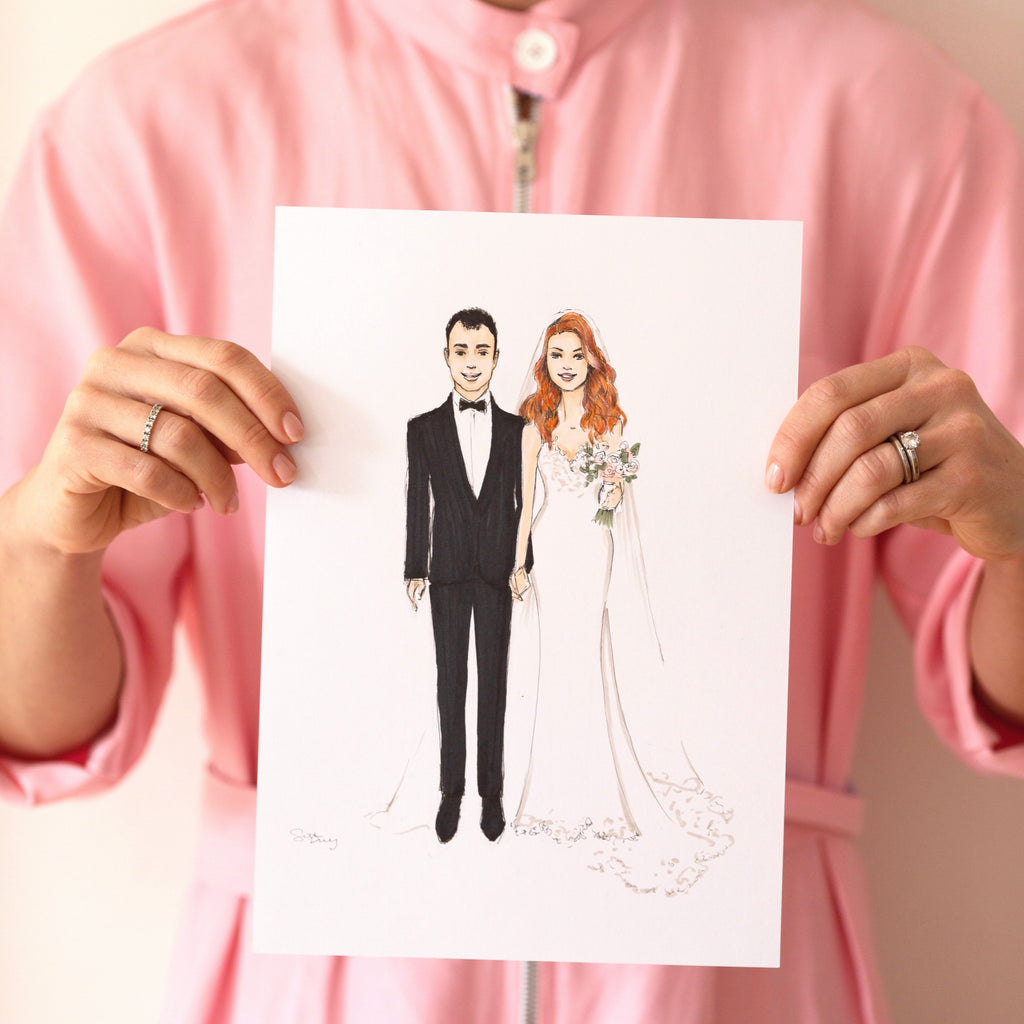 Bride and groom | Wedding illustration | Sarah Darby