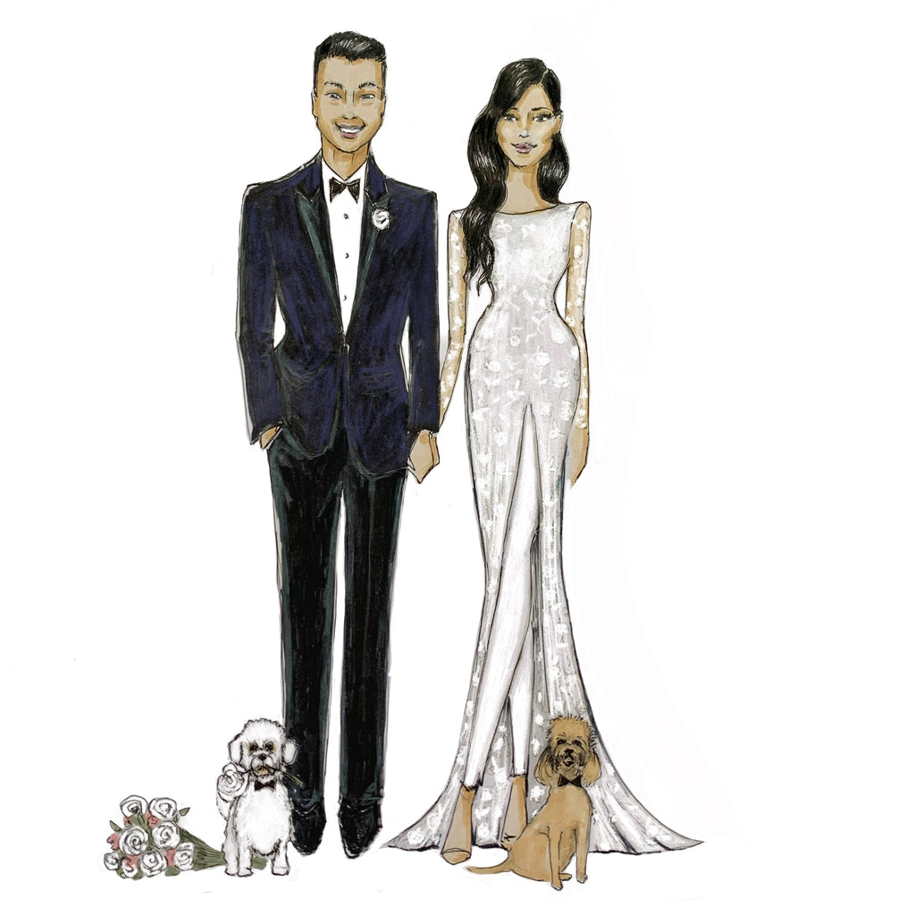 Wedding couple with pets | Bridal illustration