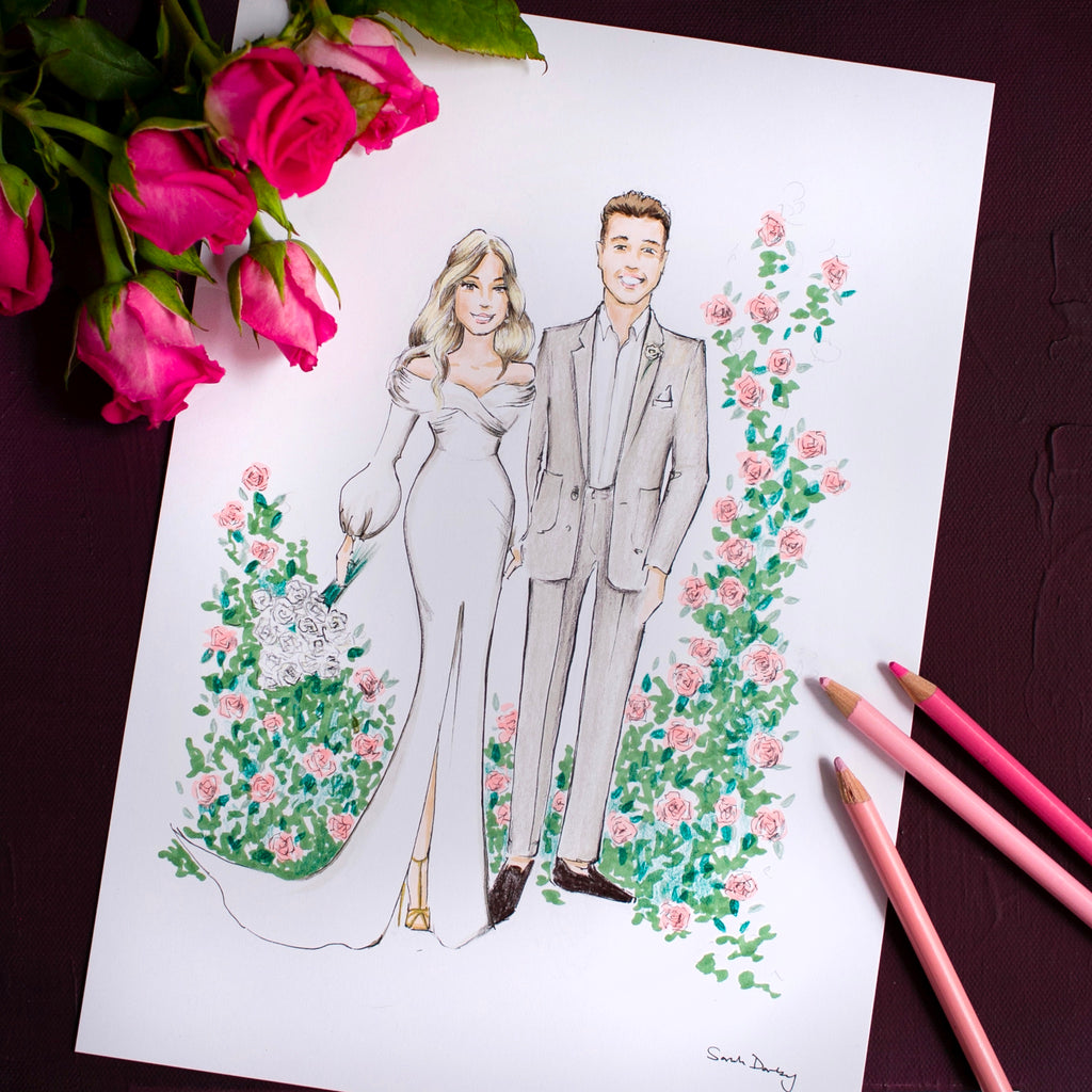 Wedding couple with floral border | Wedding illlustration | Sarah Darby