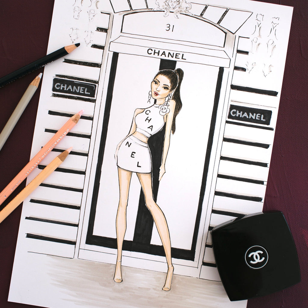 fashion portrait | fashion sketch | chanel | sarah darby