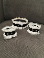 Black & White Collar Necklace & Cuff Bracelet Set from Movie/Photoshoot