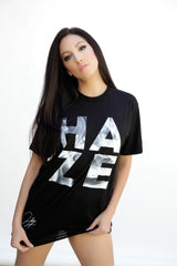 "Unisex Fit Black HAZE ""Smoke"" T-Shirt (poly-cotton blend)~ Limited Edition (SIZE SMALL ONLY)"