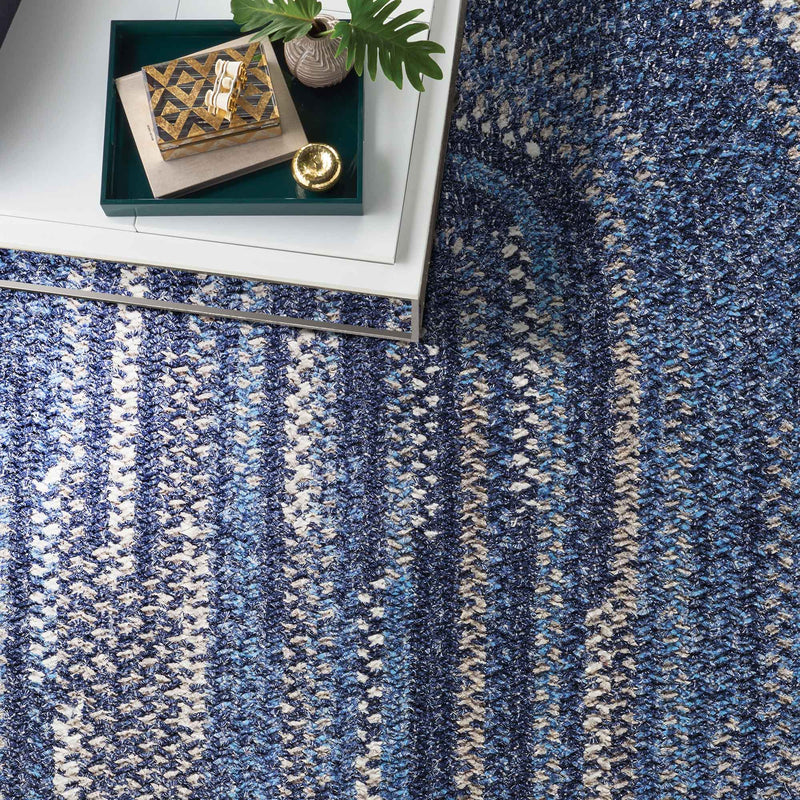 New Homestead Moody Blue Braided Rug Oval Roomshot image