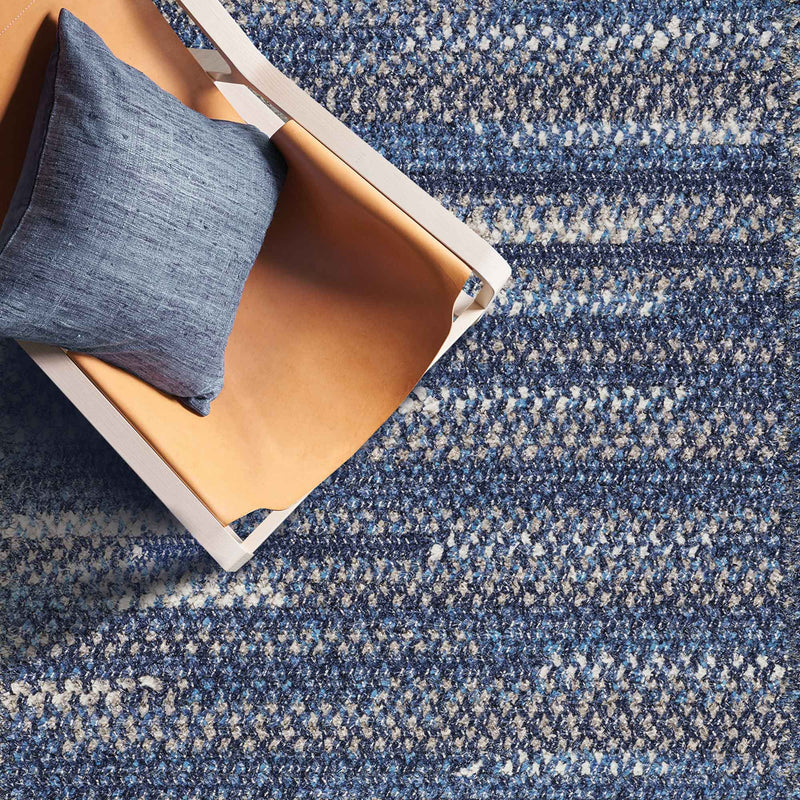 New Homestead Moody Blue Braided Rug Cross-Sewn Roomshot image