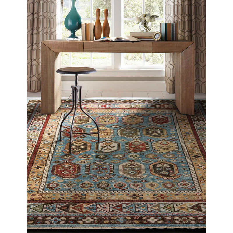 Charise-Shirvan Blue Amber Hand Knotted Rug Rectangle Roomshot image