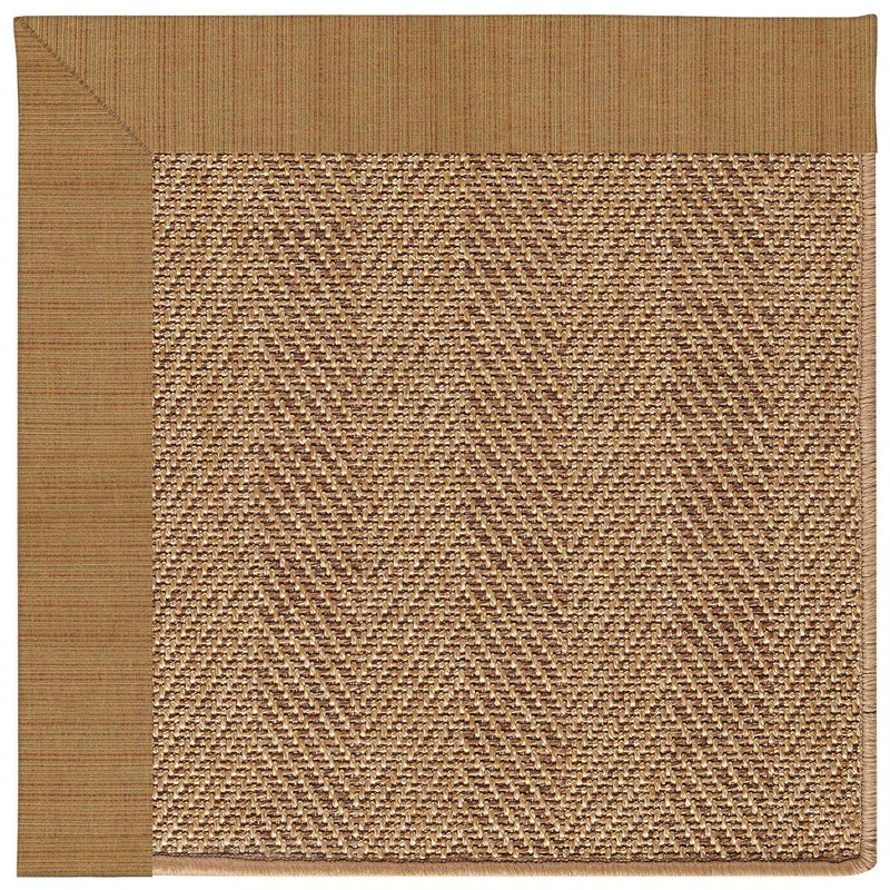 Islamorada-Herringbone Dupione Caramel Indoor/Outdoor Bordere Rectangle Corner image