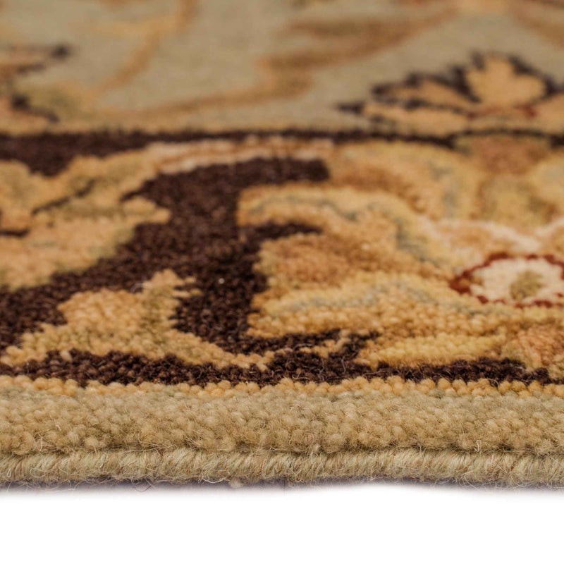 Mumtaz-Meshed Celadon Cocoa Hand Tufted Rug Rectangle Cross Section image