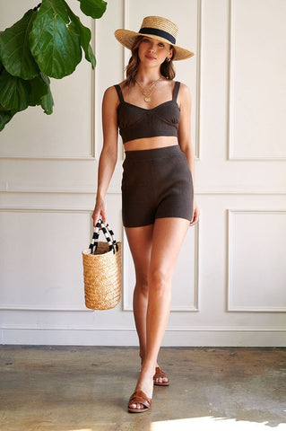 beachy lounge wear corset crop top and high waist shorts matching set, wear out and stay at home wear