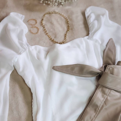 White Chiffon pouf balloon sleeve ruched back tie sash flowy romantic spring summer blouse top, date night, church wear, brunch outfit, cute beachy light top, bohemian and Parisian style women's top