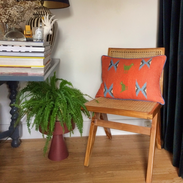 SAPOWAYDHAY CUSHION - ORANGE, SKY & TRUE GREEN