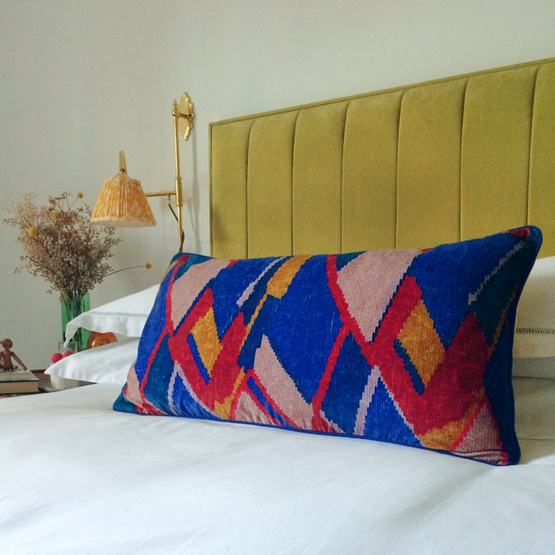 DIYETATI CUSHION - PURPLE, MUSTARD & VINTAGE ROSE