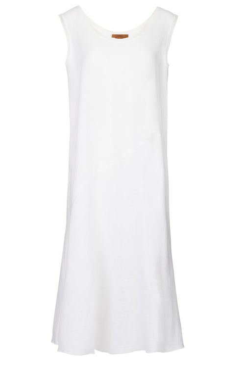 The Linen Mesh Trim Dress - White