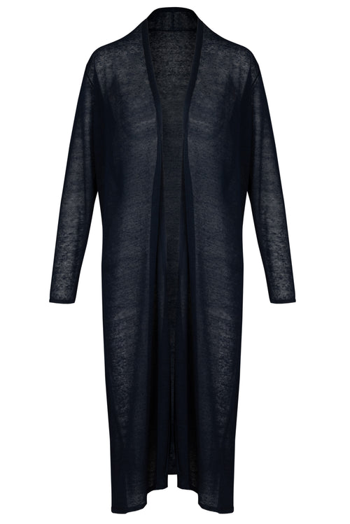 The Linen Longline Cardigan -  Navy