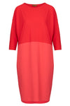 The Colour Block Cocoon Dress - Cherry Red /  Sunset Orange