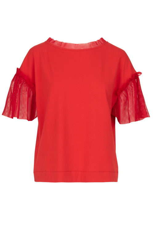 The Cotton Mesh Sleeve Top - Strawberry Crush