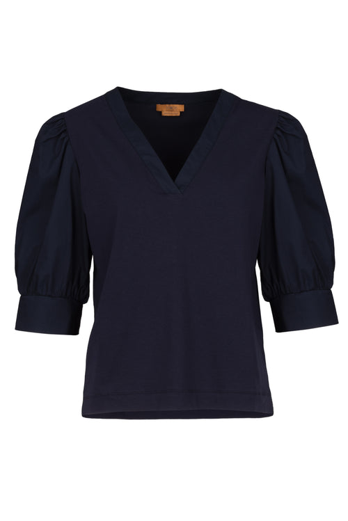 The Cotton Puff Sleeve Jersey Top - Navy