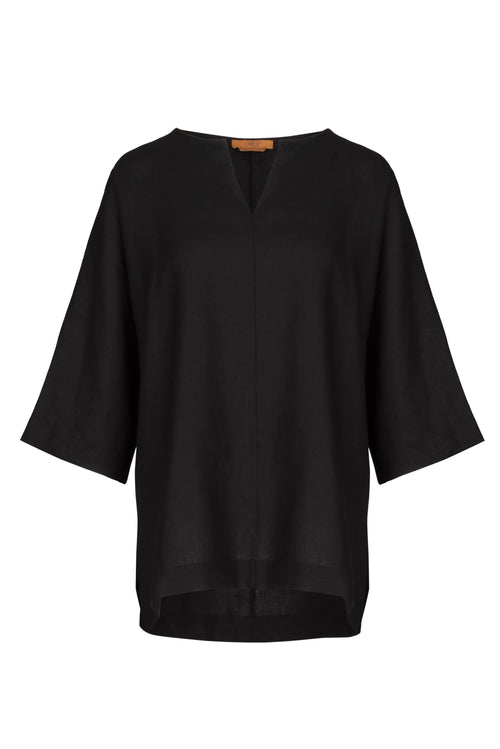 The Linen Vee Neck Tunic - Black
