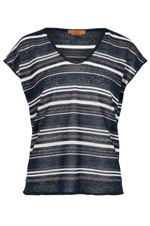 The Linen Lurex Vee Neck Top - Navy