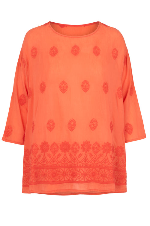 The Embroidered Cotton Pop On Top - Sunset Orange