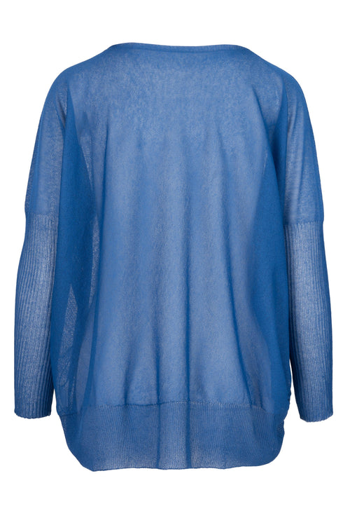 The Lightweight Dip Hem Jumper - Cobalt