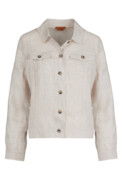 The Lightweight Linen Western Jacket - Sandy Neutral