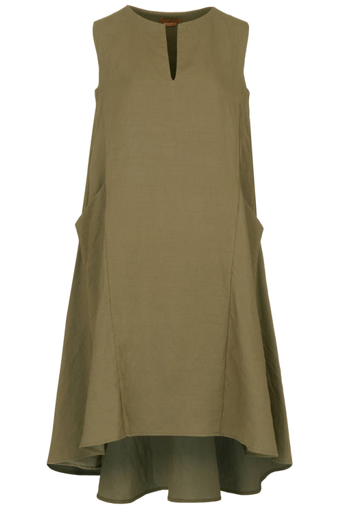 The Notch Neck Dip Hem Dress - Sage