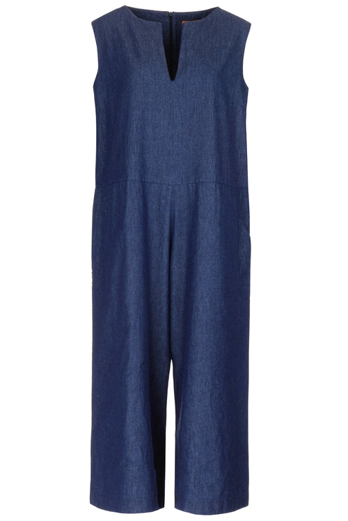 The Notch Neck Cropped Denim Jumpsuit - Blue Denim