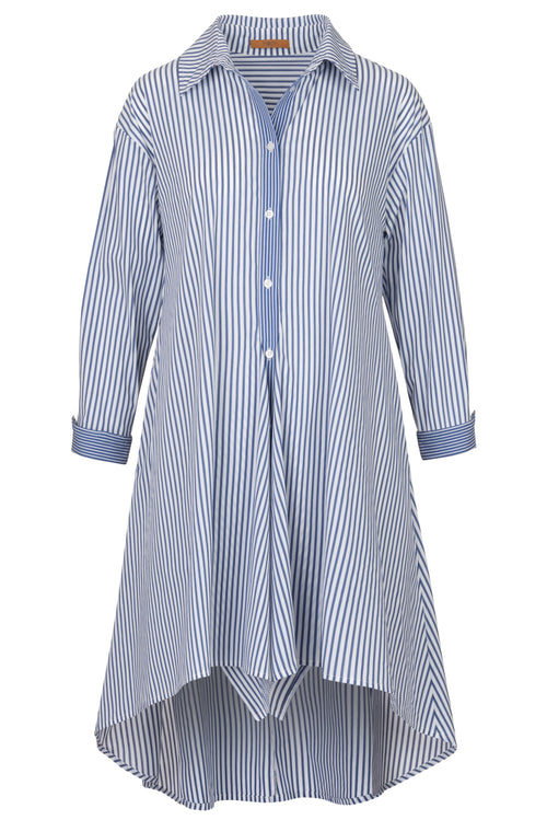 The Bengal Stripe Shirt Dress- Indigo Stripe