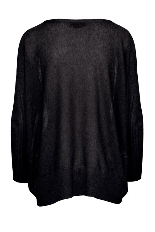 The Lightweight Dip Hem Jumper - Black