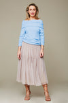 The Pleated Mesh Tiered Skirt - Sandy Neutral