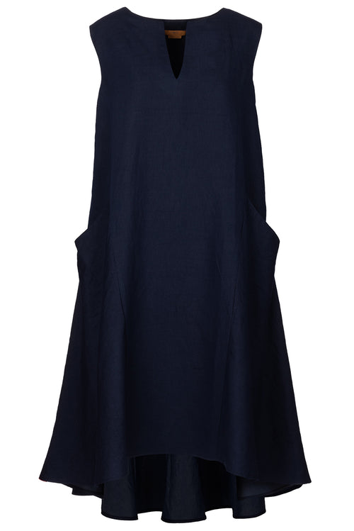 The Notch Neck Dip Hem Dress - Navy