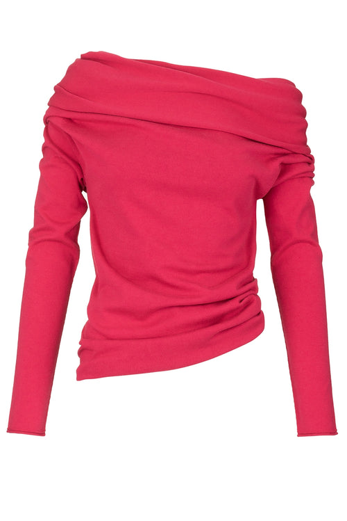 The Cotton Silk Drape Knit Jumper - Strawberry Crush