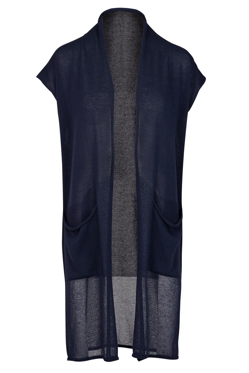 The Longline Cotton Knit Gilet - Navy