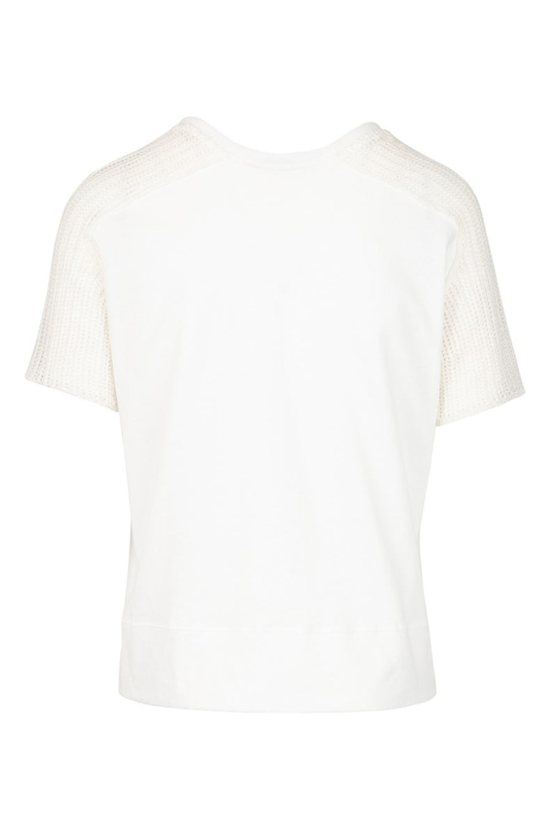 The Mesh Trim Cotton T-Shirt - White