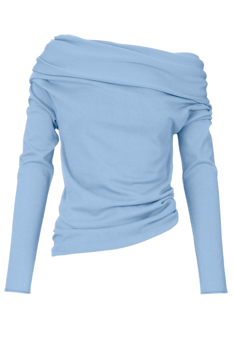 The Cotton and Silk Drape Knit Jumper - Pale Blue Sky