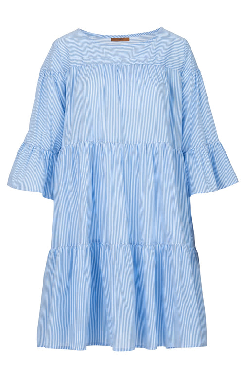 The Cotton Stripe Tiered Dress - Pale Blue Sky