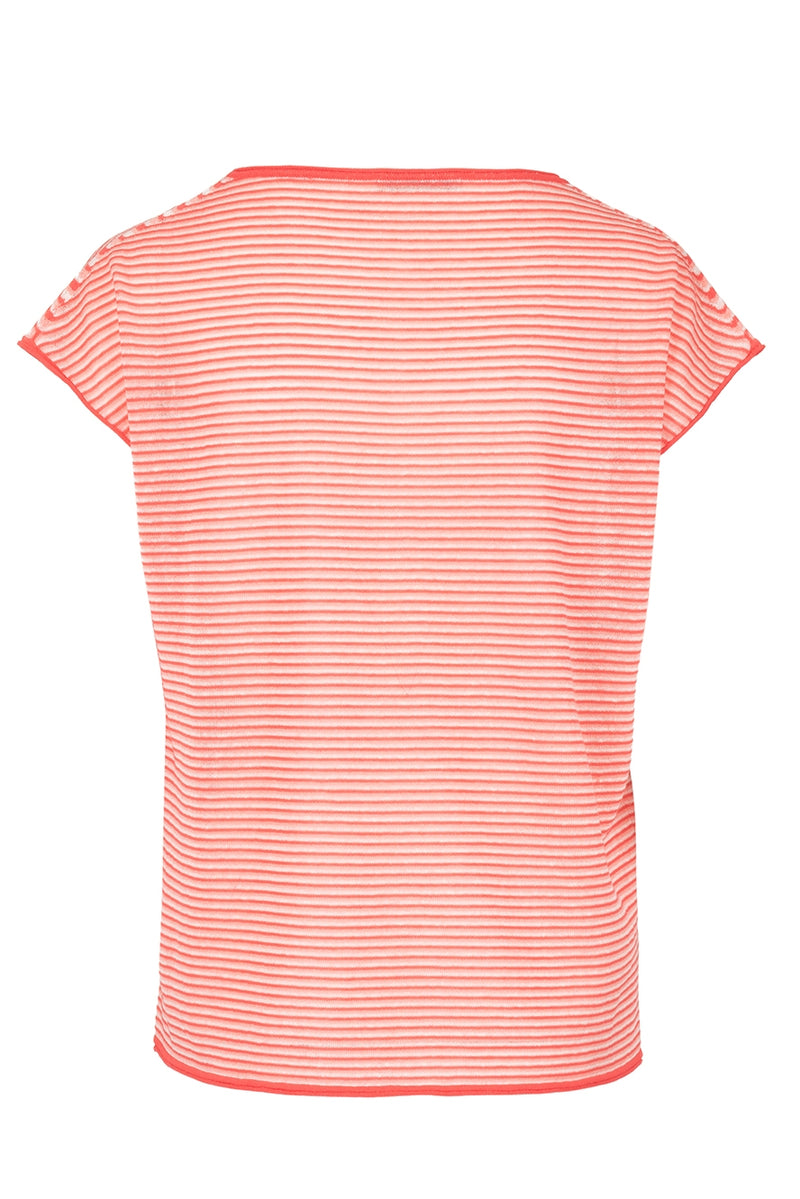 The Linen Blend Vee Neck Jumper - Orange Sorbet