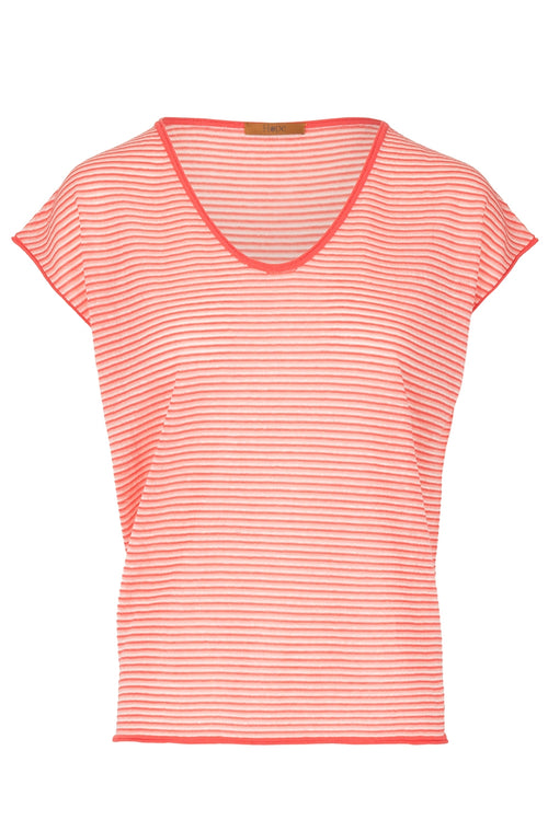 The Linen Blend Vee Neck Top - Orange Sorbet