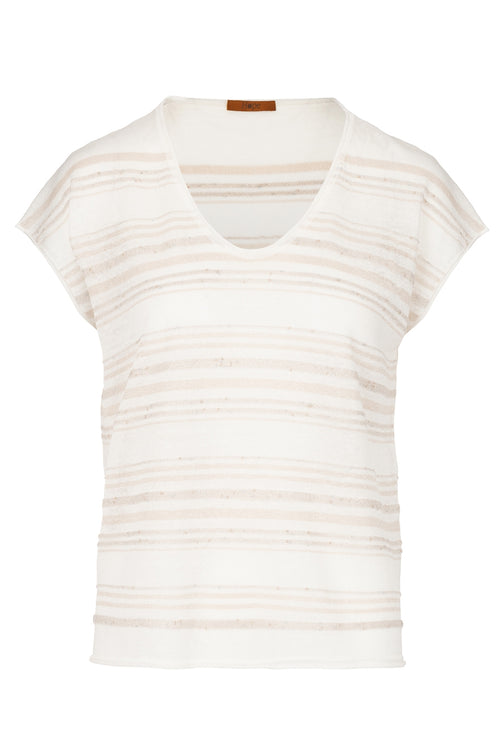The Linen Vee Neck Lurex Top - Sandy Neutral