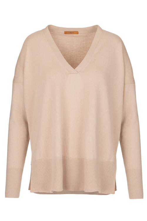 The Recycled Cotton and Cashmere Boyfriend Jumper - Sandy Neutral