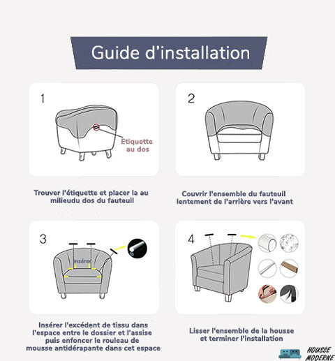 Guide d'installation Fauteuil Club | Housse Moderne