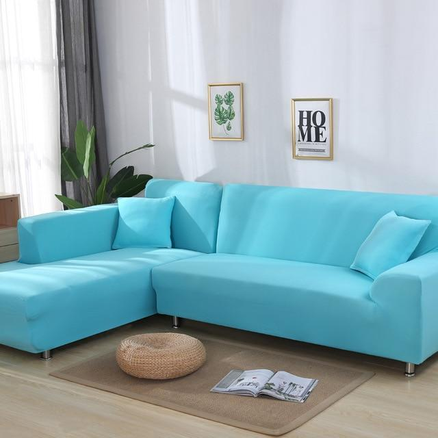 Housse Canapé d'Angle Turquoise-Housse-Moderne