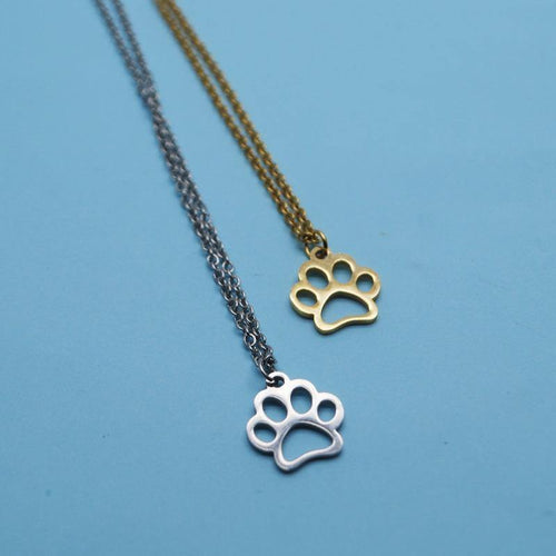 Stainless Steel Paw Print Necklace - San Frenchie