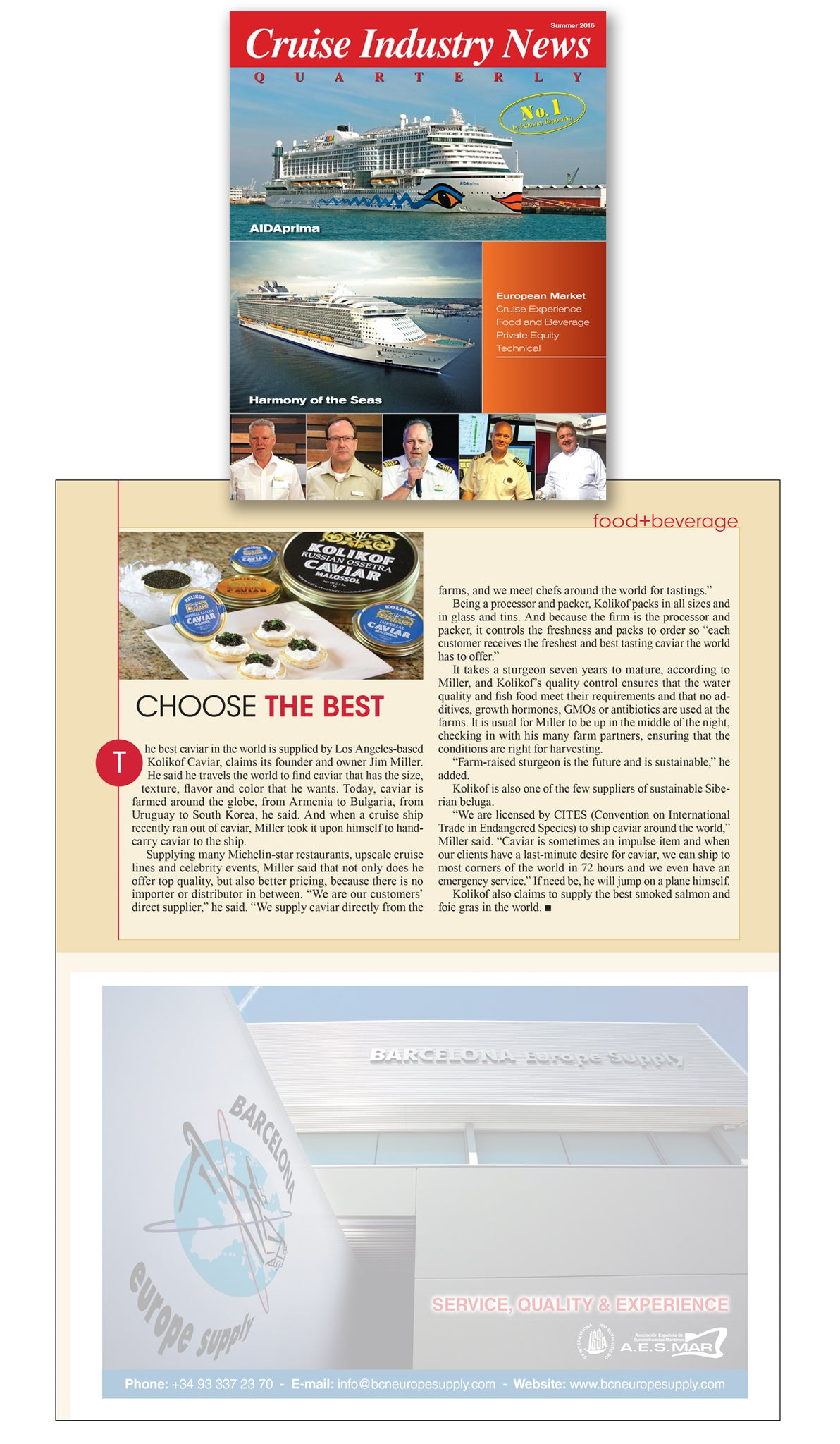 Cruise Industry News and Kolikof Caviar and Salmon
