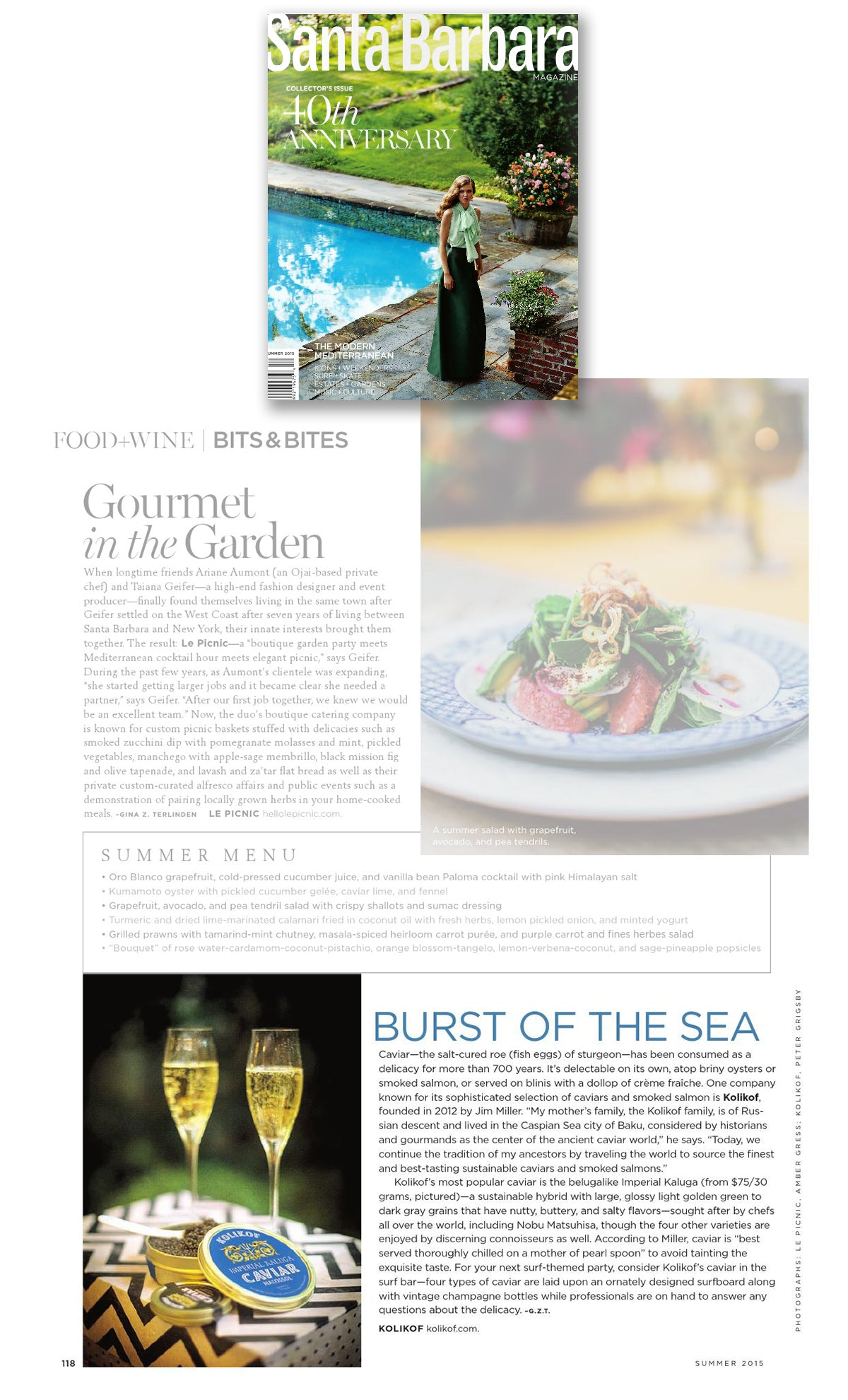 Kolikof Caviar and Fine Foods as seen in Santa Barbara Magazine