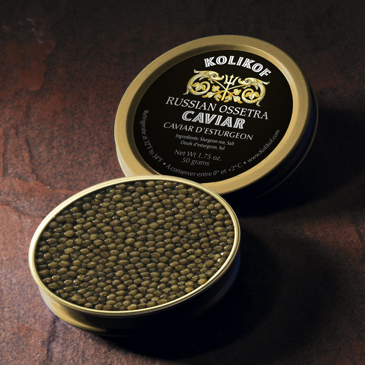 Buy Russian Ossetra sturgeon caviar online. Kolikof is the finest Osetra in the world.