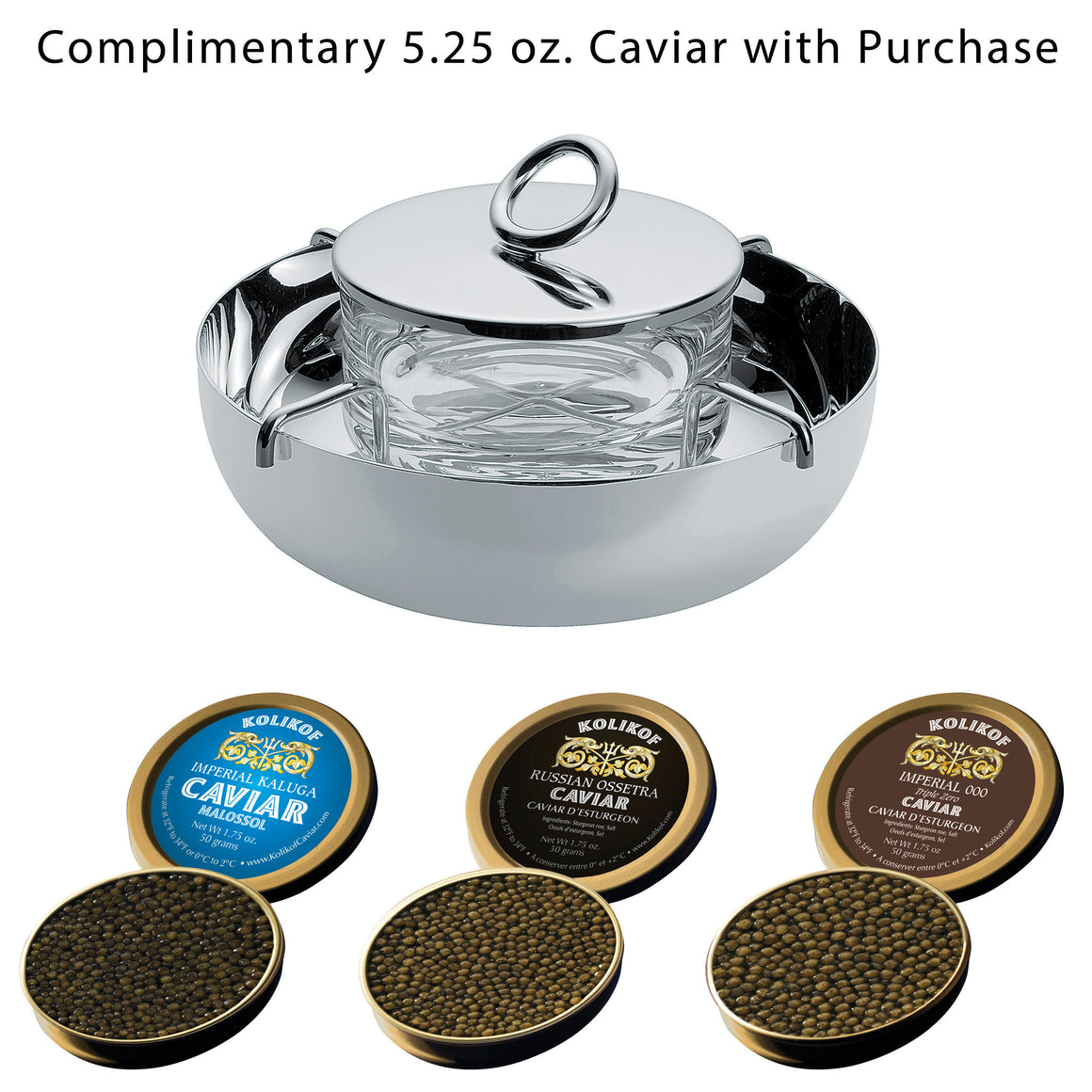 Christofle Vertigo Silver Plate Caviar Set (Small) perfect for Kolikof Caviar