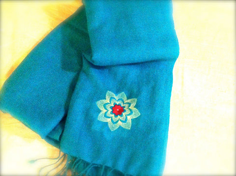"#TMWF 100% Cashmere Pashmina/Wrap - Embroidered ""Mesh Warrior"" flower Icon"